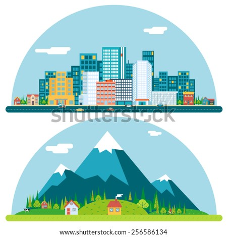 Spring Urban and Countryside Landscape City Village Real Estate Summer Day Background Flat Design Concept Icon Template Vector Illustration - stock vector