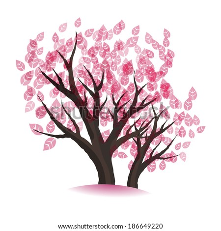 spring vector blossoming tree tree - stock vector
