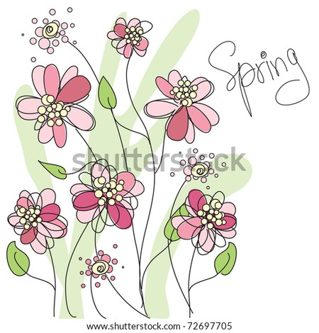 Spring vector floral background - stock vector
