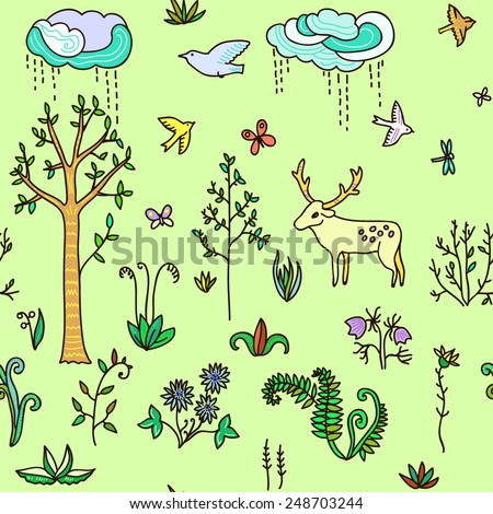 Spring vector seamless background.