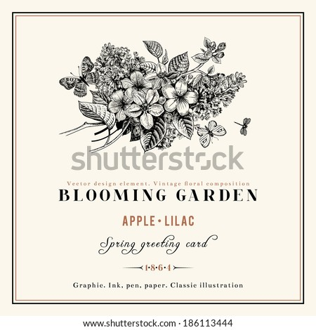 Spring vector vintage floral background black and white composition of branches of lilac and apple tree with golden frame. - stock vector