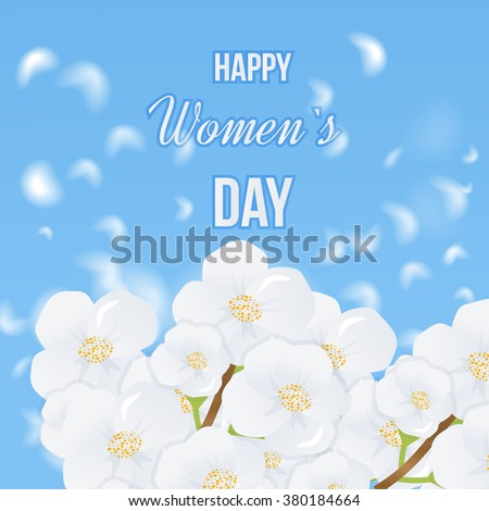 Spring white flowers the blue sky background. International Happy Women's Day concept with stylish floral decorated text 8th March. Spring flowers.