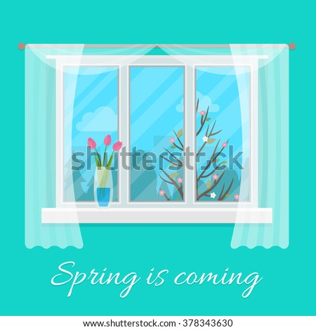 Spring window. Flat style vector illustration. - stock vector