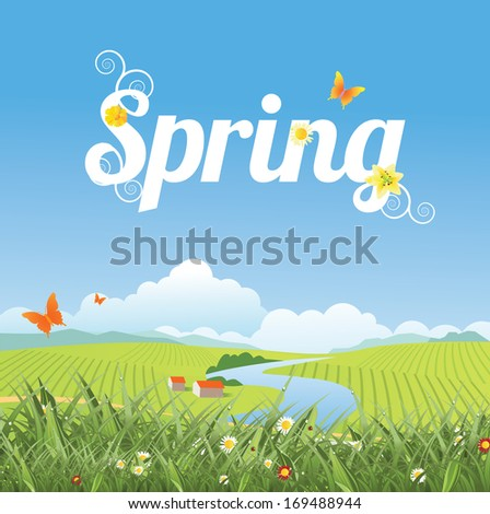 Spring word, farm and grass background. EPS 10 vector, grouped for easy editing. No open shapes or paths. - stock vector