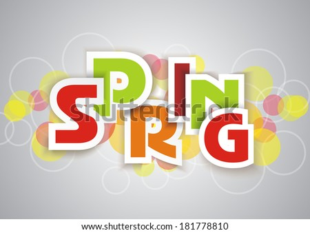 Spring word, plain and pure design, vector
