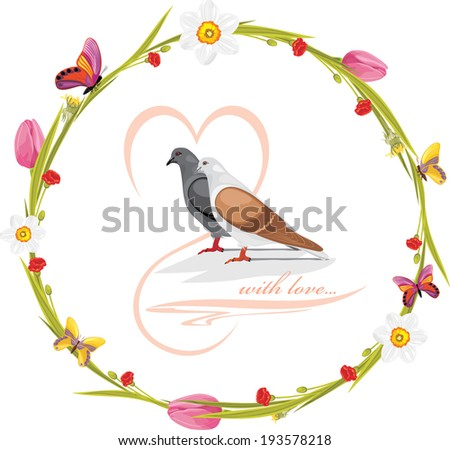Spring wreath with butterflies and loving doves. Vector - stock vector