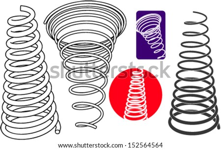 Springs in the set - stock vector