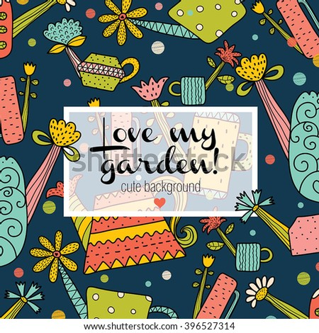 Springtime and garden. Cute vector postcard.