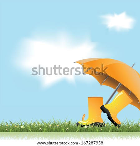 Springtime boots and umbrella background. EPS 10 vector, grouped for easy editing. No open shapes or paths. - stock vector
