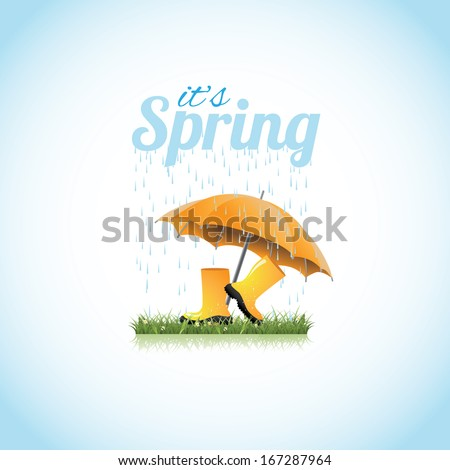 Springtime boots and umbrella. EPS 10 vector, grouped for easy editing. No open shapes or paths. - stock vector