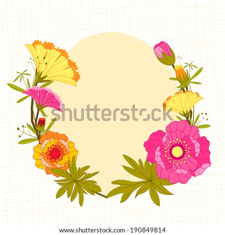 Springtime Colorful Flower Background Greeting Card - stock vector