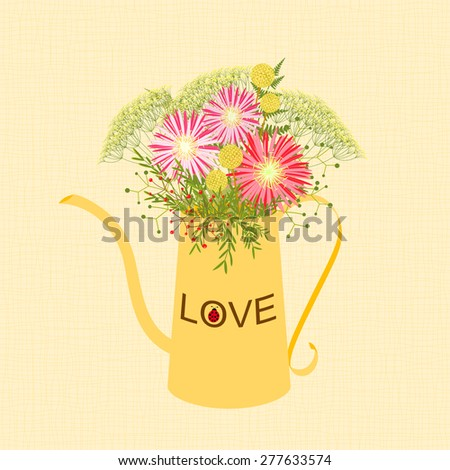 Springtime Colorful Flower in Watering Can Garden Party Background - stock vector