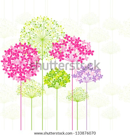 Springtime Colorful Flower on Dandelion Seamless Pattern Background - stock vector