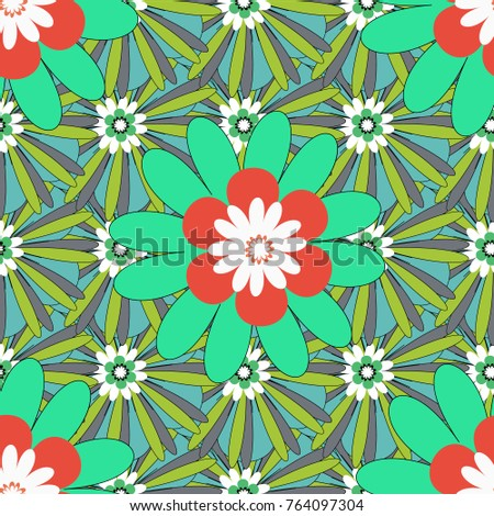 Springtime contemporary abstract flower seamless pattern in blue, green and gray colors. Vector illustration.