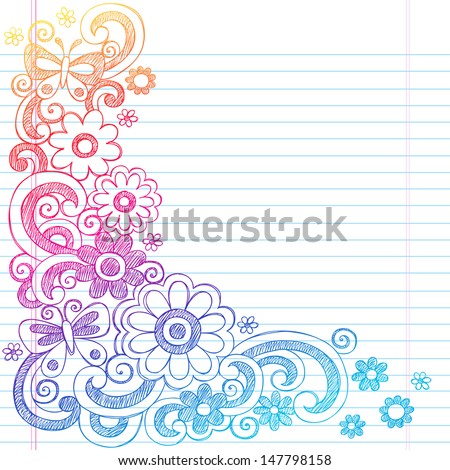 Springtime Flower Power and Butterflies Back to School Sketchy Notebook Doodles-  Illustration Design on Lined Sketchbook Paper Background  - stock vector