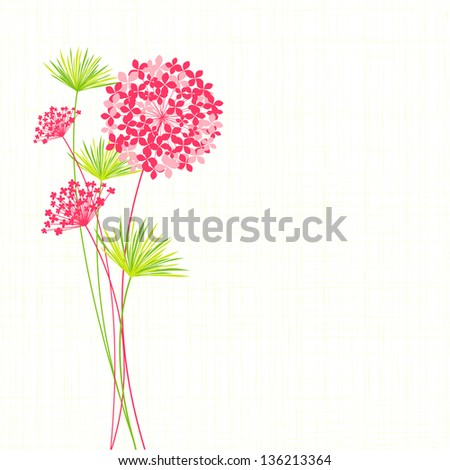 Springtime Hydrangea Flower on Green Background - stock vector