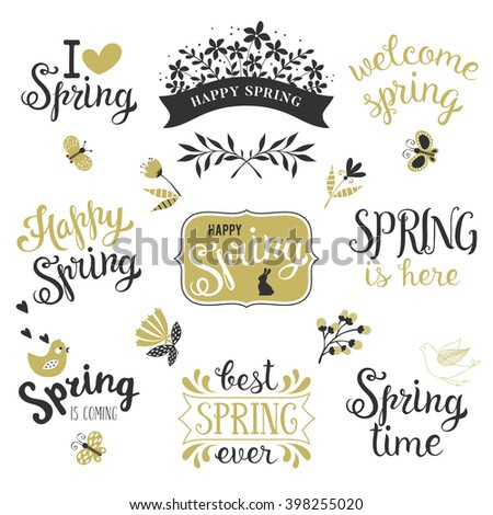 Springtime lettering design set. Spring phrases templates with bird, chick, butterflies, flowers, branches, hearts, banners and frames. Vector illustration.