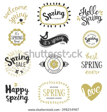 Springtime lettering design set. Spring phrases templates with birds, butterflies, flowers, heart, banners and frames. Vector illustration.