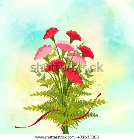 Springtime Red Carnation Flower Background - stock vector