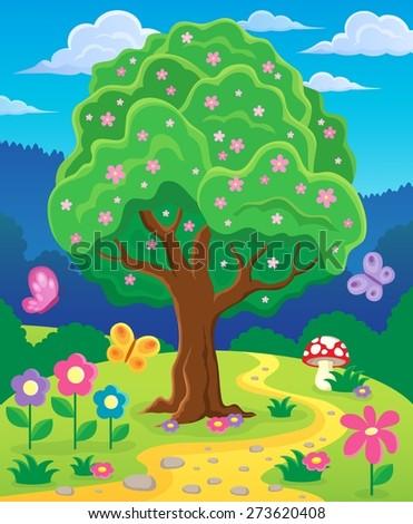 Springtime tree topic image 3 - eps10 vector illustration. - stock vector