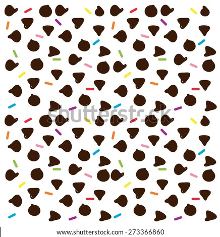Sprinkles and chocolate chips - stock vector