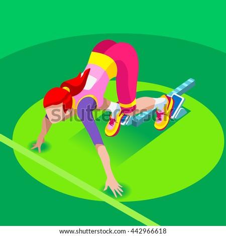 Sprinter Runner Athlete at Starting Line Athletics Race Start 2016 Summer Games Icon Set.3D Flat Isometric Sport of Athletics Runner Athlete at Starting Blocks.Sports olympics Infographic Vector Image - stock vector