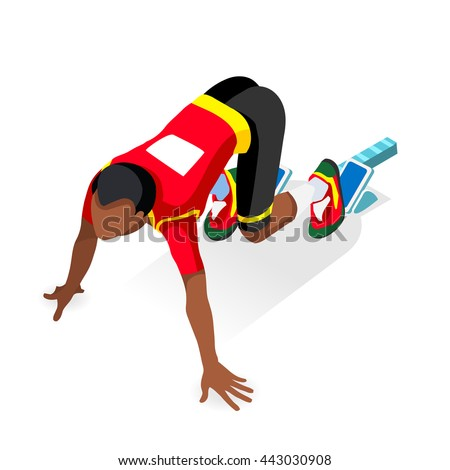 Sprinter Runner Athlete at Starting Line Athletics Race Start Summer Games Icon Set.3D Flat Isometric Sport of Athletics Black Man Runner Athlete at Starting Blocks.Sport Infographic Vector Image - stock vector