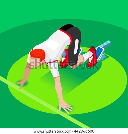 Sprinter Runner Athlete at Starting Line Athletics Race Start Summer Games Icon Set. Flat Isometric Sport Athletics White Man Runner Athlete at Starting Blocks.Olympics Sport Infographic Vector Image. - stock vector