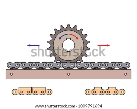 Sprocket And Chain Pin Rack Mechanical Transmission With Direction Of Motion