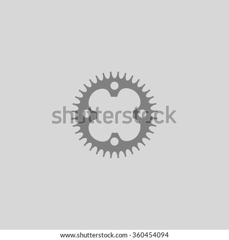 Sprockets - Grey flat icon on gray background - stock vector