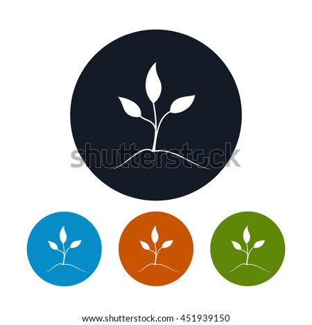 Sprout Icon, Four Types of Colorful Round Icons Young Shoot, Vector Illustration