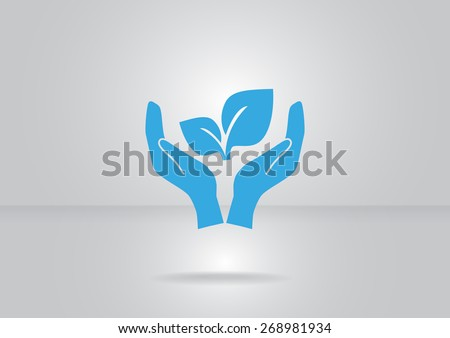 sprout in a hand sign of environmental protection, web icon.  - stock vector