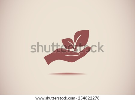 sprout in a hand sign of environmental protection, web icon. vec - stock vector