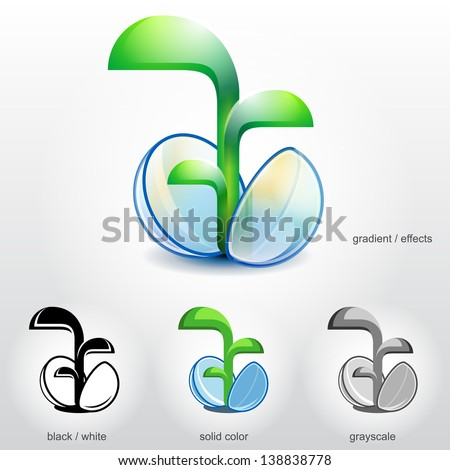 Sprout of plant grow up from stylized spherical seed. Vector (EPS-10) symbol (icon, sign, emblem) about growth, development, gardening, agriculture, environment, ecology, nature, etc - stock vector