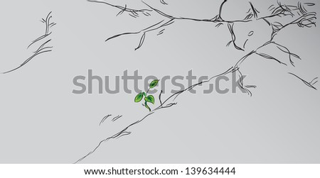 Sprout sprig on the cracked concrete. Vector illustration.
