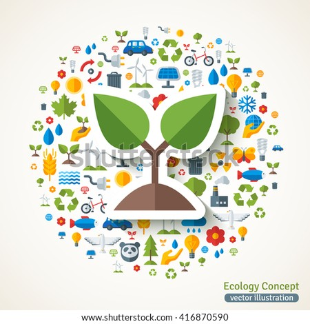 Sprout symbol flat sticker. Vector concept illustration with icons of ecology, environment, green energy and pollution. Save the planet. Eco Technology. - stock vector