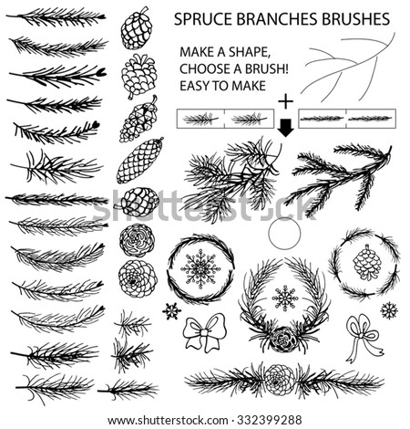 Spruce branches,pine,cones black silhouette set.Brushes,wreath,line borders.Christmas tree decor elements for invitations,card,banner.New year holiday vector,nature Winter template - stock vector