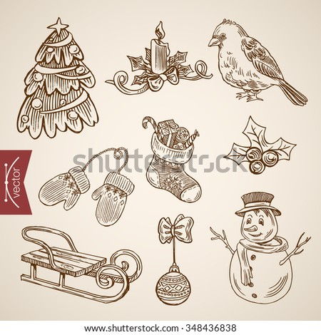 Spruced fir tree snowman bird candle sldge. Christmas New Year handdrawn engraving style template objects set. Pen pencil crosshatch hatching paper drawing retro vintage vector lineart illustration. - stock vector