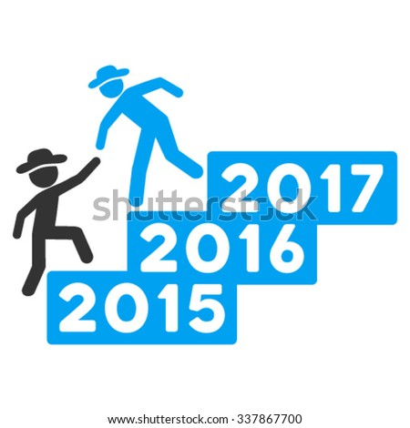 Spy Annual Help vector icon. Style is bicolor flat symbol, blue and gray colors, rounded angles, white background.