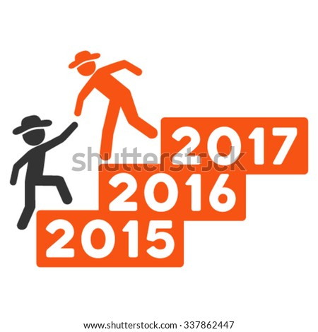 Spy Annual Help vector icon. Style is bicolor flat symbol, orange and gray colors, rounded angles, white background.
