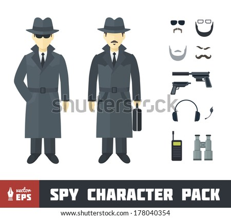 Spy Character Pack with Gadgets in Flat Style - stock vector