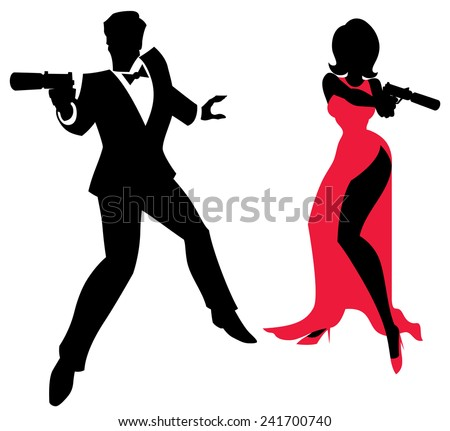 Spy Couple: Silhouettes of spy couple over white background. No transparency and gradients used. - stock vector