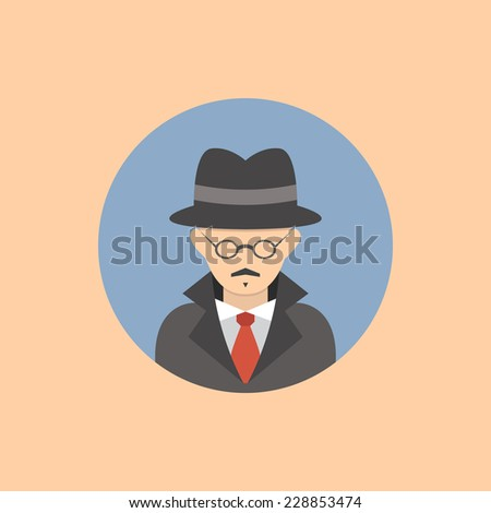 Spy flat round avatar for social networks - stock vector