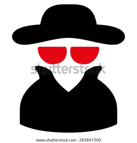 Spy icon from Business Bicolor Set. Vector style: bicolor flat symbol, intensive red and black colors, rounded angles, white background. - stock vector