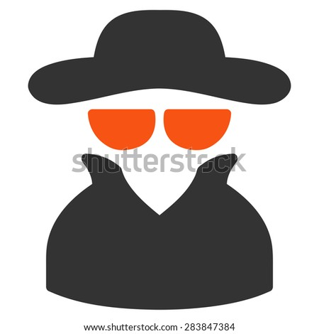 Spy icon from Business Bicolor Set. Vector style: bicolor flat symbol, orange and gray colors, rounded angles, white background. - stock vector