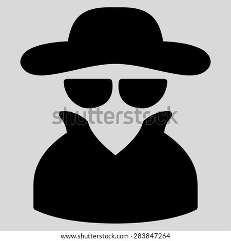 Spy icon from Business Bicolor Set. Vector style: flat symbol, black color, rounded angles, light gray background. - stock vector