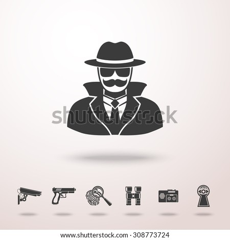 Spy icon with shadow and set of spy icons - fingerprint, gun, binocular, eye in keyhole, surveillance camera, dictaphone. Vector - stock vector