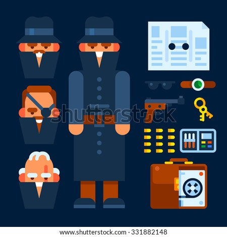 Spy in a black coat and items for spying. Vector flat illustration. - stock vector