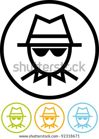 Spy man face - Vector icon - stock vector