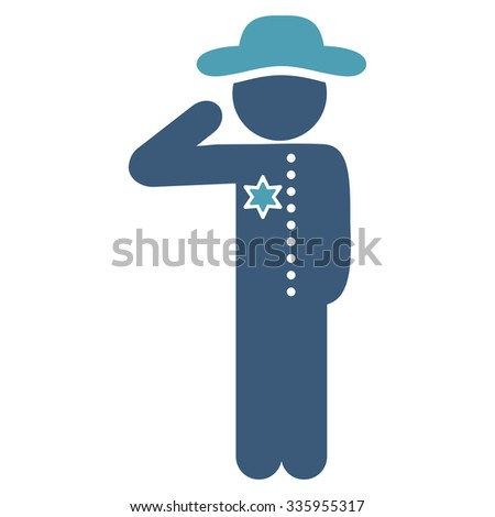 Spy Officer vector icon. Style is bicolor flat symbol, cyan and blue colors, rounded angles, white background.